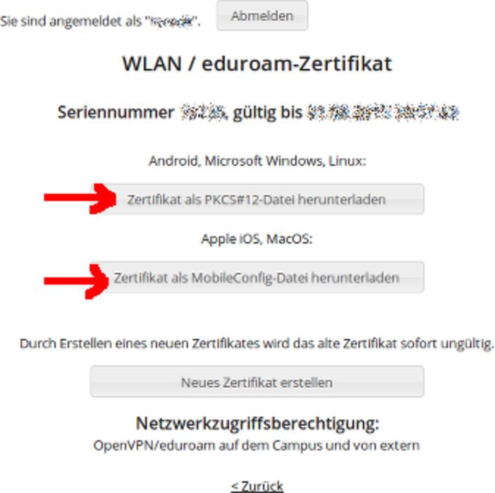 Benutzerzertifikate für eduroam - Universität Passau
